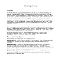 English Writing Sample - Esophagectomy