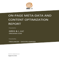 Greg and I - On-Page Analysis and Optimization Report