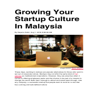 Growing Your Startup Culture in Malaysia