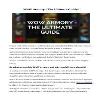 World of Warcraft - WoW armory