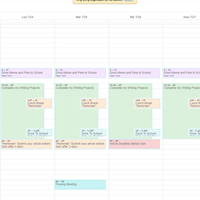 Setting up some schedules for 1-week tasks.