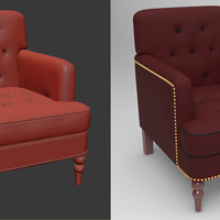 Highly detailed sculpting and rendering of a classic sofa