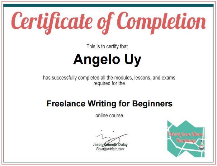 Angelo Uy Freelancer Freelance Writing Certificate